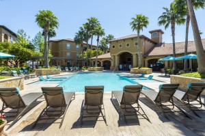 Three Bedroom Apartments for Rent in Northwest Houston, TX -Pool Area with Lounge Chairs
